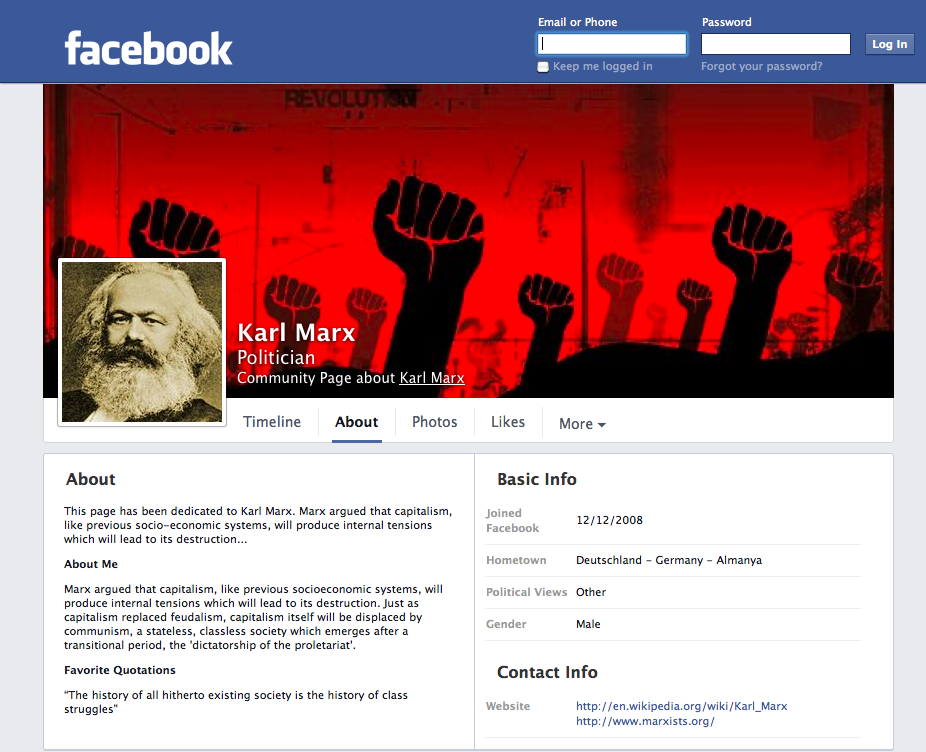 screen shot of Karl Marx Community Facebook Page