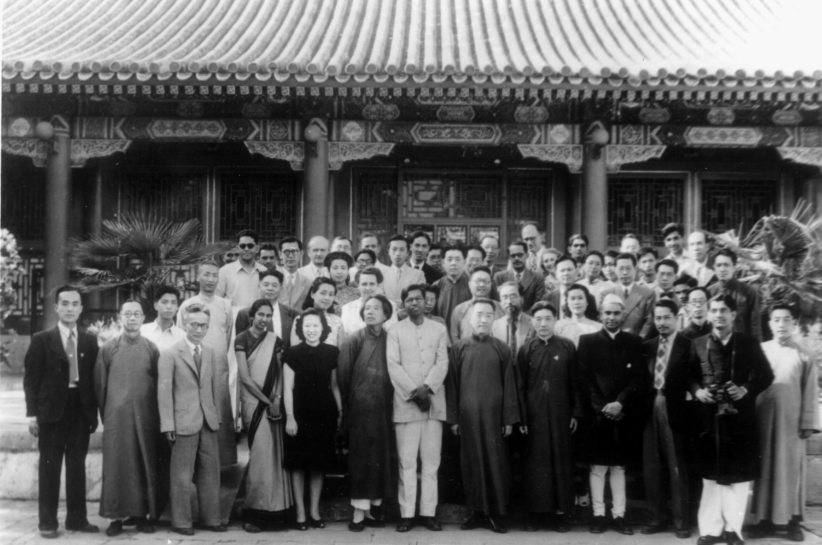 Empson (second row, right of center) with colleagues and guests at Peking University