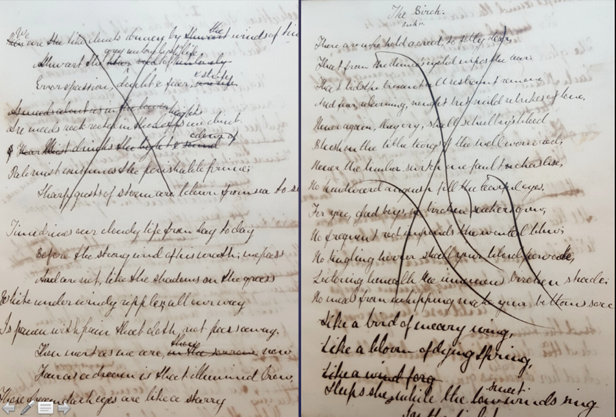 "Figure 8. A. C. Swinburne's Oxford Notebook (1859?), ""The Birch,"" two details: cancellations (L), lashes (R). Booth Family Center for Special Collections, Georgetown University."