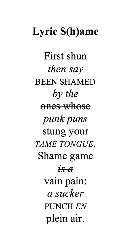 Charles Bernstein Lyric Shame