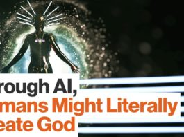 """Through AI, Human Might Literally Create God"" (image source: video by Big Think (IBM))"
