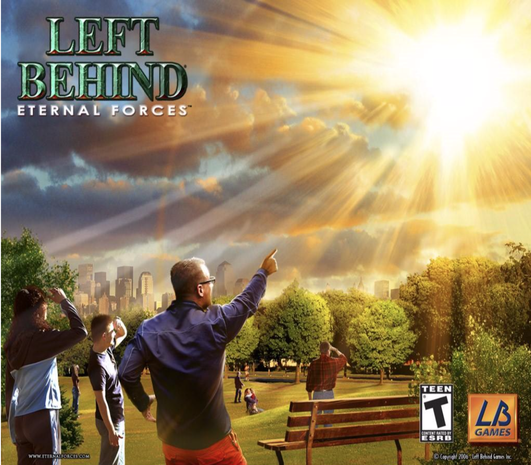 Figure 1. Box art for the Left Behind: Eternal Forces video game, depicting the Christian Rapture over New York City.