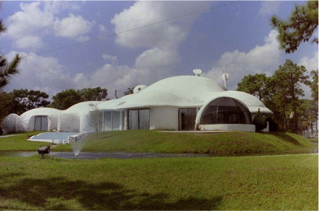 "Figure 7. One of several foam futuristic dome structures known as ""Xanadu House of Tomorrow"" located in tourist destinations across the United States from 1980 until the mid-1990s; this one was located in Kissimmee, Florida. Photo credit: Wollewoox, under Attribution-Share Alike 4.0 International license."