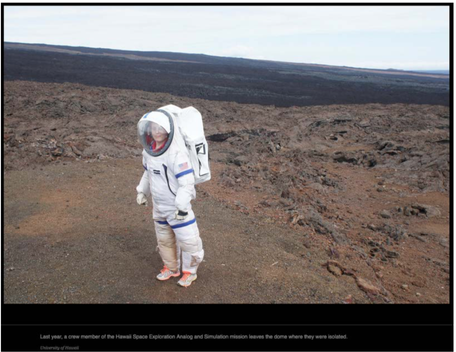 "Figure 8. A HI-SEAS ""fake Mars"" project astronaut. (Source: Hersher 2016)"