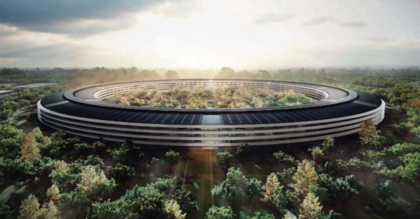 "Figure 9. Concept drawing of Apple's new ""Spaceship"" headquarters. (Source: Techboss24, http://techboss24.blogspot.com/2013/11/apples-new-spaceship-campus-see-unseen.html"