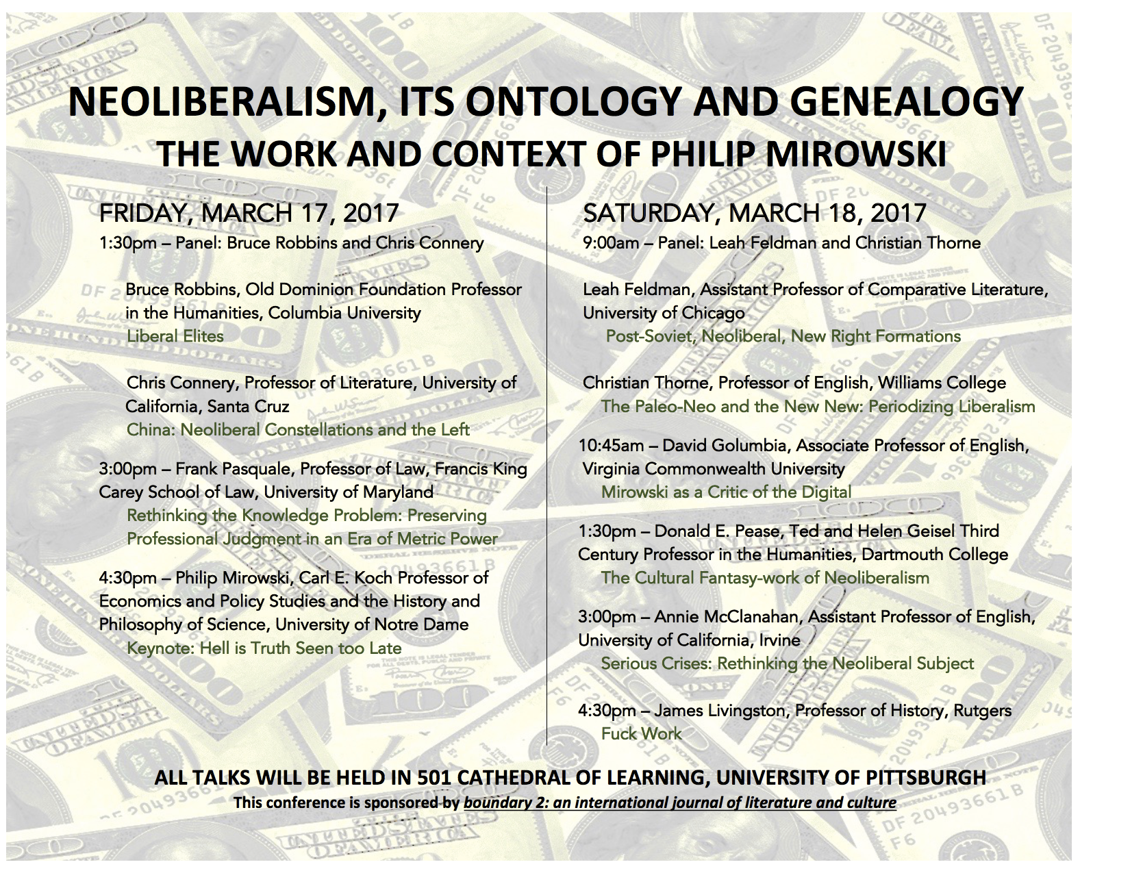 Conference Announcement — Neoliberalism, Its Ontology and