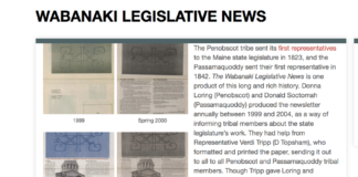 Front page to online archive of Wabanaki Legislative Update at dawnlandvoices.org; students and tribal authors worked together to digitize and curate this political paper. Used with permission of Donna Loring and Donald G. Soctomah