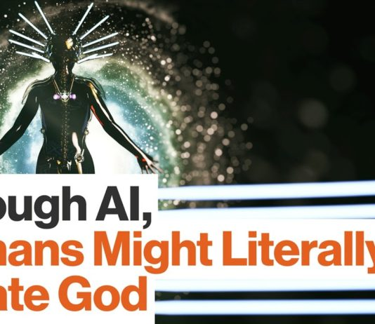 """""""Through AI, Human Might Literally Create God"""" (image source: video by Big Think (IBM))"""